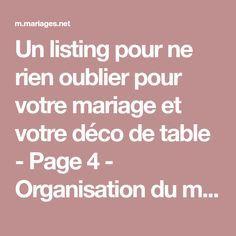 Un listing pour ne rien oublier pour votre mariage et votre déco de table - Page 4 - Organisation du mariage - Forum Mariages.net