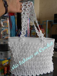 Mis labores en Crochet: bolsas con lacres Pop Top Crafts, Can Tab Crafts, Pop Tab Purse, Pop Tabs, Do It Yourself Crafts, Crochet Purses, Bag Making, Purses And Bags, Crochet Patterns