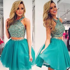 New Arrival Green Homecoming Dress,Short Homecoming Dress,Short Party Dress,Two Pieces Homecoming Dress,Graduation dress,Halter Homecoming Dress,Junior Homecoming Dress,Beaded Homecoming Dress,Dress for Homecoming, Two Piece Prom Dresses