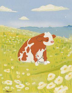 Animes Wallpapers, Cute Wallpapers, Animal Drawings, Cute Drawings, Arte Indie, Posca Art, Arte Sketchbook, Cow Art, Psychedelic Art