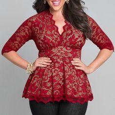 Stylish V-Neck Half Sleeve Plus Size Lace Blouse For Women