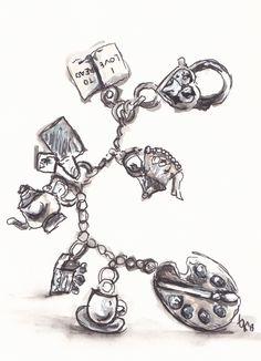 Charm dangle ... http://traceyfletcherking.blogspot.com.au/2013/04/snot-face-sketches.html