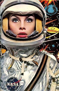 Jean Shrimpton in a space helmet for Harpers Bazaar, photo Richard Avedon - 1965