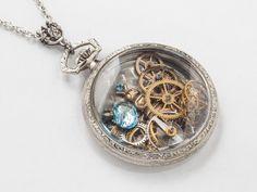 steampunk jewelry pocket watch case necklace gears inside #pocketwatchnecklace #steampunknecklace #steampunkjewelry