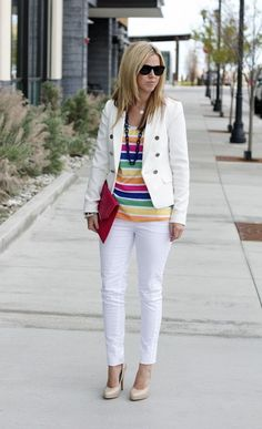 White Suit And Rainbow Stripes 2017 Street Style