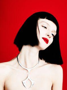 Amanda Norgaard was shot by Billy Kidd for WWD Beauty Inc.