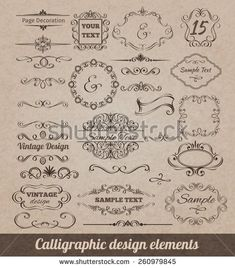 Calligraphic design elements set with card decoration scrolls and vignettes isolated vector illustration. Archive contains JPG and EPS files. Baroque, Flourish Border, Pink And White Background, Page Decoration, Drawing Frames, Vintage Frames, Vector Art, Vector Graphics, Vintage Designs