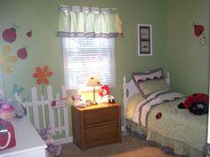 Ladybug toddler room with picket fence Toddler Rooms, Toddler Bed, Dream Bedroom, Kids Bedroom, Ladybug Room, Ladybugs, New Room, Girl Room, Kid Stuff