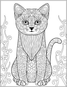 Cat Stress Relieving Designs Patterns Adult Coloring Book Page 14