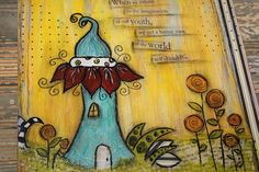 Hand Painted Altered Clipboard Mixed Media Whimsical by Berryhills, $21.00