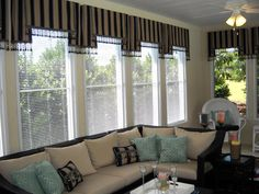 #Windowtreatments  Tailored valances with a great bead fringe! These are in a pool house. www.LadyDiannes.com