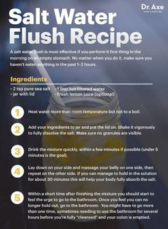 A salt water flush is the safest, easiest way to cleanse the colon and detox the body. Here's how to perform one and a salt water flush recipe to try. Colon Cleanse Detox, Natural Colon Cleanse, Liver Detox, Stomach Cleanse, Juice Cleanse, Bowel Cleanse, Kidney Cleanse, Clean Cleanse, Vitamins