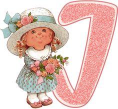 Alfabeto de nenita con flores, dibujo de Sarah Kay.   Oh my Alfabetos! / letter j