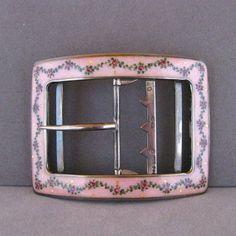 Vintage Sterling Silver and Pink Guilloche Enamel Belt Buckle
