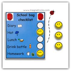 magnetic school bag check list - 1 child