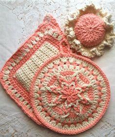 Peaches 'n Cream Amazing Starburst Potholder Set with Lid Grabber Hat Hand Crocheted 100% USA Cotton $32