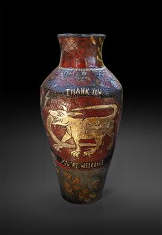 An original vase by Lucinda Mudge entitled: Thank You, You're Welcome, ceramic, gold luster, h 52cm For more please visit www.finearts.co.za