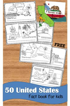 FREE United States Fact Book for kids - Love this for kids to learn about all 50 states visually while they color state map, state flag, state landmark, state bird, and state flower Learning States, Geography Lessons, Geography Activities, United States Facts, Social Studies Elementary, Kindergarten Social Studies, Homeschool History, Geography For Kids, 123 Homeschool 4 Me