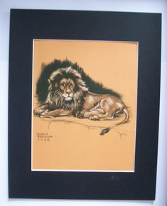 Lion Print Gladys Emerson Cook King Of The Jungle Wild Animal Colored Bookplate 1943 11x14 Matted by VintageVaultPrints on Etsy