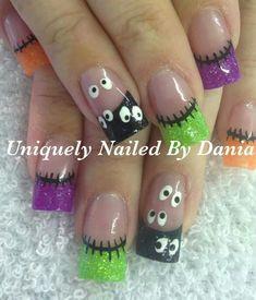 Neon Halloween acrylic nails