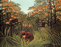 Apes in the Orange Grove by Henri Rousseau (1910) private collection
