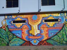 Mural de la Cooperativa de Horticultores, Arte autóctono que nos remonta hacia los orígenes de las creecias y actividades del hombre recolector