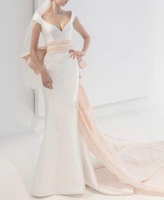 Cap sleeve v-neck simple wedding dress *belt sold separately #RALovefromNY #ReemAcra #ReemAcraWedding #Wedding #Bride #Bridal #WeddingDress