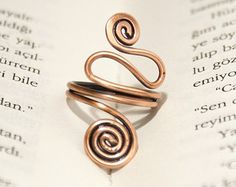 copper with navy blue crystal copper ring wire wrapped