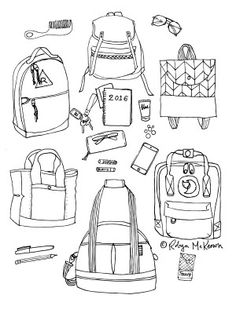 Limited Edition FREE coloring page with bags inspired by Kate Spade, Swankaroo, Fjallraven, and Mark and Graham.