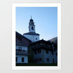 Photo, wall art, homedecor, art prints, art for sale, mountain village, bell tower, church, Italy, Alps, sky, blue, chalet, garden, green, end of Summer