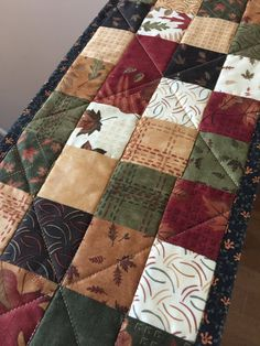 Quilted Fall Autumn Patchwork Table Runner by countrysewing4U