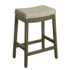 HomePop Blake Backless Counter Stool - Grey Fabric with Grey Patina Wood Base