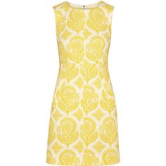 Diane von Furstenberg Carpreena floral-jacquard mini dress ($290) ❤ liked on Polyvore featuring dresses, mekot, bright yellow, floral dress, yellow floral dress, yellow mini dress, short yellow dress and floral print mini dress