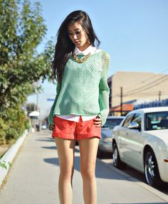 The coral shorts and mint top!