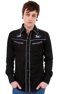 black boys western shirt | ... Clothing > Mens Rockabilly > Mens Black Rockabilly Western Shirt