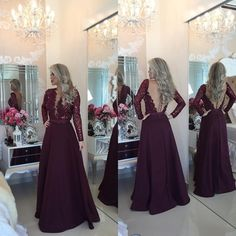 Low Back Long A-Line V-Neck Chiffon Prom Dresses 2016