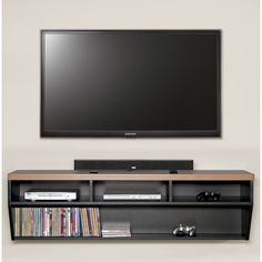 This wall mounted A/V storage unit creates a classic look that is functional and upscale. It features an angled design that creates a thin wall profile.