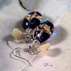 Gorgeous Czech Glass Earrings, Wire Wrapped