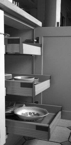 drawers in kitchen cupboard