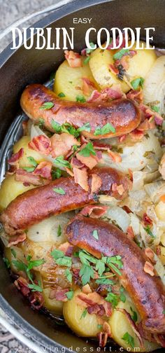 The Dublin Coddle is a savory Irish classic made with potatoes, onions, rashers (bacon) and bangers (sausages) with a little chicken broth and beer thrown in. #dublincoddle #irishrecipe #coddle #bangers #sausageandpotatoes #irishcoddle Sausage Recipes, Pork Recipes, Casserole Recipes, Slow Cooker Recipes, New Recipes, Cooking Recipes, Bacon Meals, Cooking Pasta, Taco Casserole