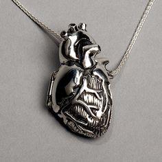 Silver Anatomical Heart Locket 28 inch chain by PeggySkempJewelry, $295.00