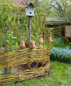 Woven willow branch garden fence