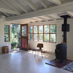 The cieling, the exposed beams, the light floors