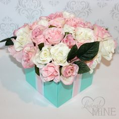 Centerpiece - Pink Tiffany & Co. Inspired Flower Box Centerpiece with Pink Flowers and Ribbon - Perfect combo with Tiffany Blue