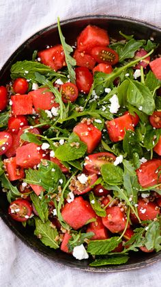 Tomato and Watermelon Salad with Feta and Herbs via AOL Lifestyle Read more: www. Watermelon Tomato Salad, Watermelon Salad Recipes, Healthy Salad Recipes, Vegetarian Recipes, Veggie Side Dishes, Side Dish Recipes, Feta Salat, Side Salad, Kraut