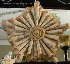 antique sheet music wreath