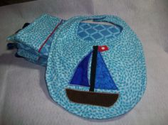 Sailboat  Baby Boy Bib Set  Minky burp cloth set by PeaPodLilFrogs, $24.95
