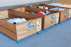 15 Genius DIY Storage Solutions - Rolling Storage - Got some empty space under a bed or couch, but don't like the look of plastic under-bed organizers? These rolling crates from Teal and Lime add an industrial touch to your living area, and are simple to make—no power tools needed. Best of all? How easy it is to access your storage, thanks to their rolling casters.