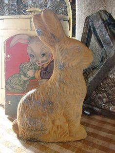 Big Primitive Easter Blackened Wax Chocolate Bunny by oldgoatprims, $8.00