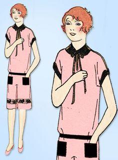 1920s Vintage Butterick Sewing Pattern 1379 Uncut Girls Flapper Dress Size 10  | eBay